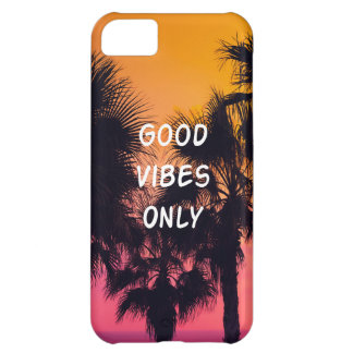 """""""Good Vibes Only""""  Tropical Beach Palms Sunset iPhone 5C Case"""