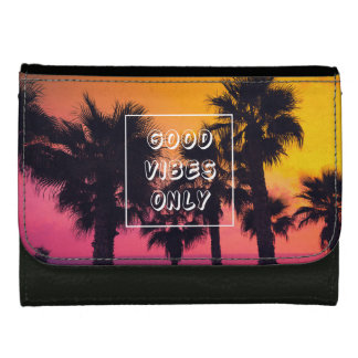 """Good Vibes Only""  Tropical Beach Palms Sunset Leather Wallet For Women"