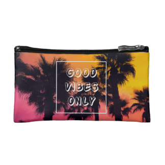 """Good Vibes Only""  Tropical Beach Palms Sunset Makeup Bag"
