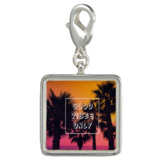 """""""Good Vibes Only""""  Tropical Beach Palms Sunset Photo Charms"""