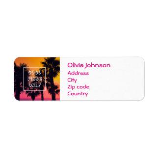 """Good Vibes Only""  Tropical Beach Palms Sunset Return Address Label"