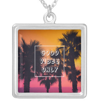 """Good Vibes Only""  Tropical Beach Palms Sunset Silver Plated Necklace"