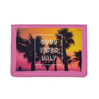 """Good Vibes Only""  Tropical Beach Palms Sunset Trifold Wallet"