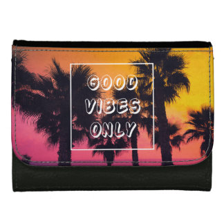 """Good Vibes Only""  Tropical Beach Palms Sunset Wallet"