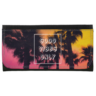 """Good Vibes Only""  Tropical Beach Palms Sunset Wallets"