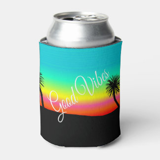 Good Vibes Palm Tree Sunset can cooler