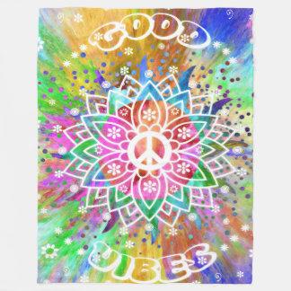 Good Vibes Psychedelic Hippies Peace Fleece Blanket