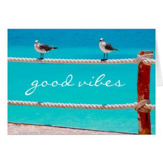 """Good vibes"" quote beach birds photo blank inside Card"