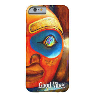 """""""Good Vibes"""" Quote, Cute Fun Wood Totem Face Photo Barely There iPhone 6 Case"""