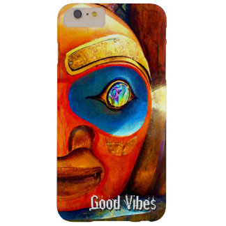 """""""Good Vibes"""" Quote, Cute Fun Wood Totem Face Photo Barely There iPhone 6 Plus Case"""