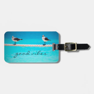 """Good Vibes"" Quote White Seagull Beach Birds Photo Luggage Tag"