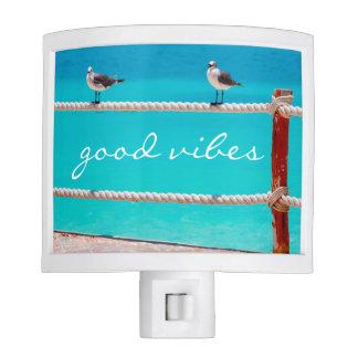 """Good Vibes"" Quote White Seagull Beach Birds Photo Nite Lites"