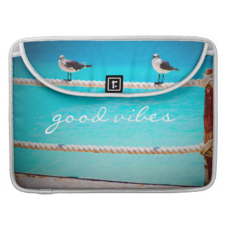 """Good Vibes"" Quote White Seagull Beach Birds Photo Sleeve For MacBook Pro"