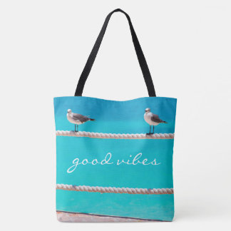 """""""Good vibes"""" quote white seagull beach birds photo Tote Bag"""