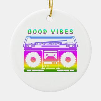 Good Vibes Retro Stereo Ceramic Ornament
