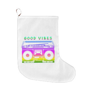 Good Vibes Retro Stereo Large Christmas Stocking