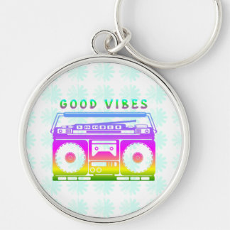 Good Vibes Silver-Colored Round Keychain