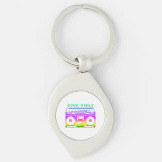 Good Vibes Silver-Colored Swirl Keychain