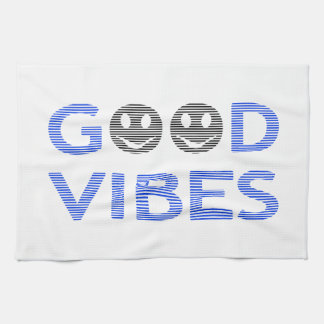 Good vibes - smiley - black and blue. kitchen towel