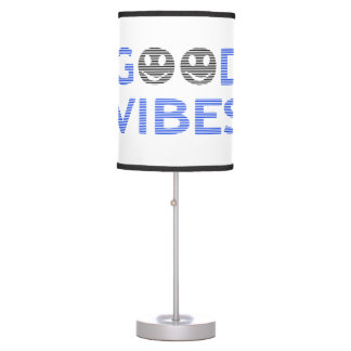 Good vibes - smiley - black and blue. table lamp