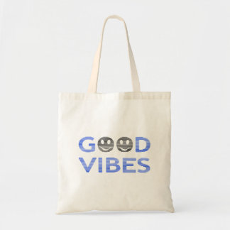 Good vibes - smiley - black and blue. tote bag