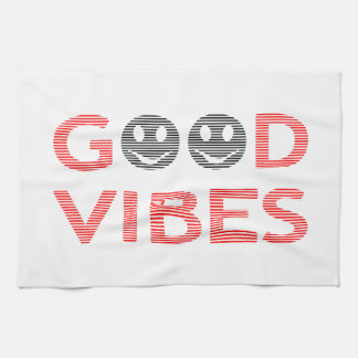 Good vibes - smiley - black and red. kitchen towel