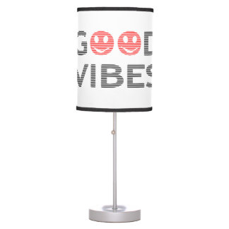 Good vibes - smiley - black and red. table lamp