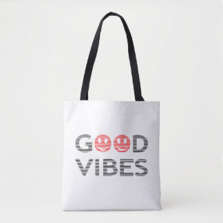 Good vibes - smiley - black and red. tote bag
