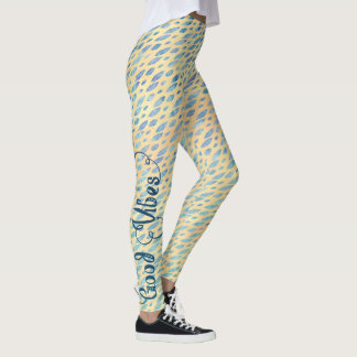 GOOD VIBES Typography Watercolor Blues Feathers Leggings