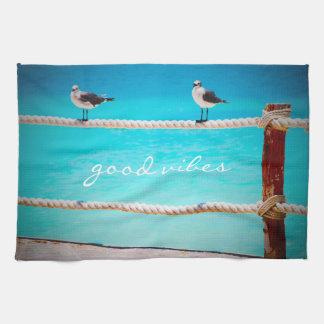 """""""Good Vibes"""" White Seagull Beach Birds Photo Kitchen Towel"""