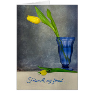 goodbye-yellow tulip in sundae glass card