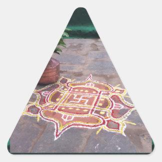 Goodluck Copper Vessel Rangoli Swistika Religious Triangle Sticker