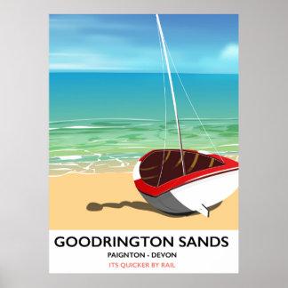 Goodrington Sands Devon vintage travel poster