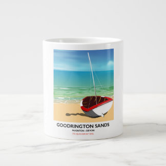 Goodrington Sands Devon vintage travel poster Large Coffee Mug