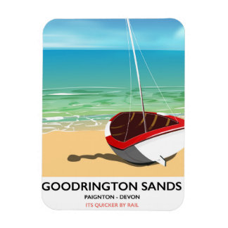 Goodrington Sands Devon vintage travel poster Rectangular Photo Magnet