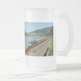 Goods train in ASS one ASS on the Rhine Frosted Glass Beer Mug