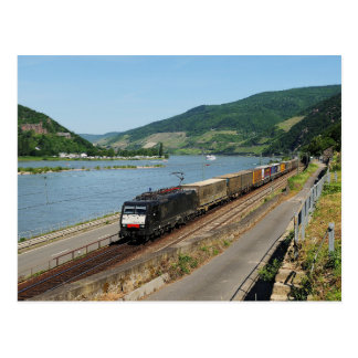 Goods train in ASS one ASS on the Rhine Postcard