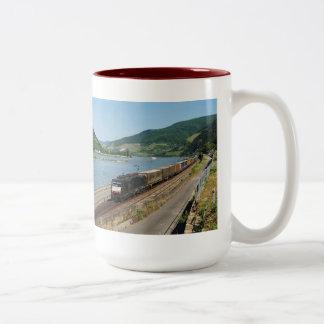 Goods train in ASS one ASS on the Rhine Two-Tone Coffee Mug