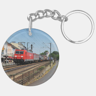 Goods train in coarse home on the Rhine Keychain