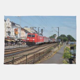 Goods train in coarse home on the Rhine Kitchen Towel