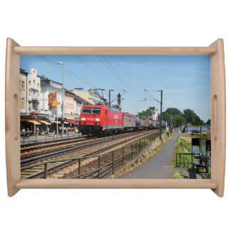 Goods train in coarse home on the Rhine Serving Tray