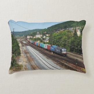 Goods train in Gemünden at the Main Decorative Pillow