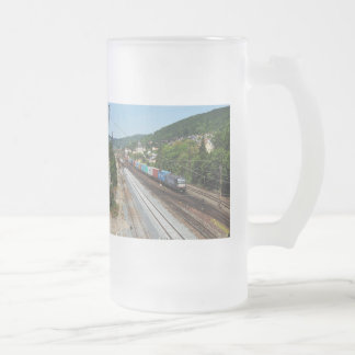 Goods train in Gemünden at the Main Frosted Glass Beer Mug