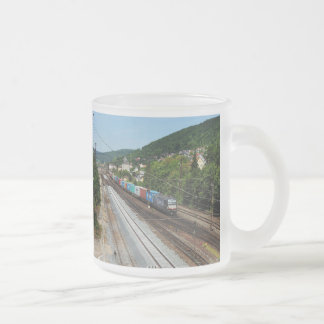 Goods train in Gemünden at the Main Frosted Glass Coffee Mug