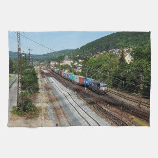 Goods train in Gemünden at the Main Kitchen Towel