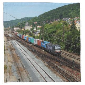 Goods train in Gemünden at the Main Napkin