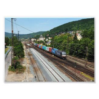 Goods train in Gemünden at the Main Photo Print