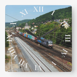 Goods train in Gemünden at the Main Square Wall Clock
