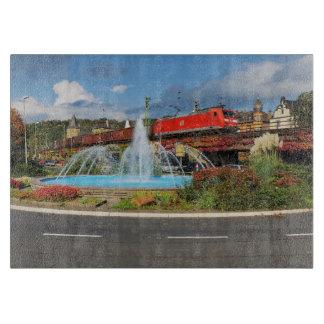 Goods train in Linz on the Rhine Cutting Board