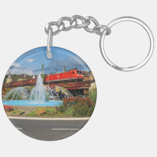 Goods train in Linz on the Rhine Keychain